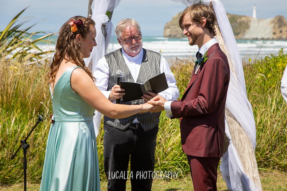 ring exchange, Castlepoint Wairarapa wedding, Lucalia Photography