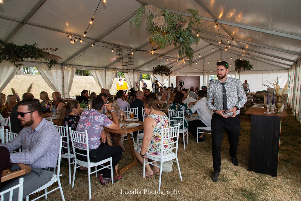 inside marquee wedding, Wairarapa