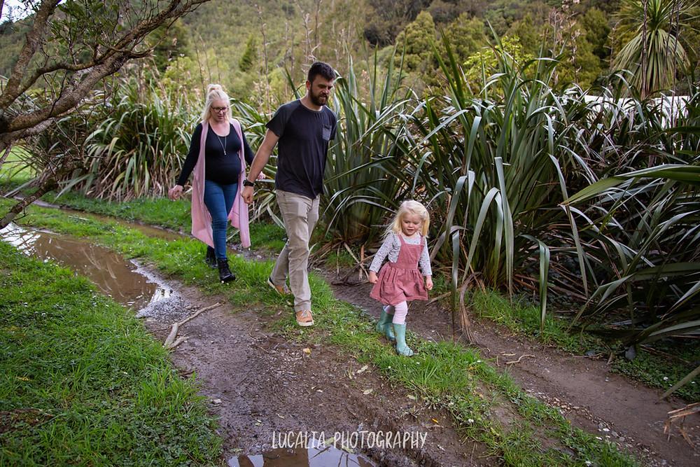 family walking on muddy track, Wairarapa family photographer