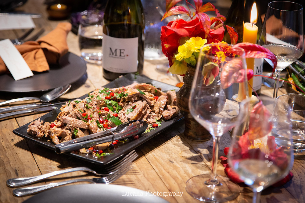 Palliser Ridge lamb served on shared platters at Rose & Smith at Tauherenikau Wairarapa wedding venue