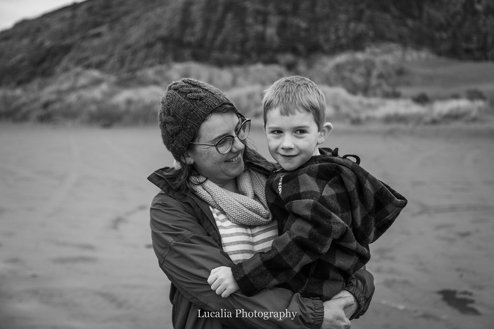 mother holder her son at the beach, Castlepoint Wairarapa family photographer