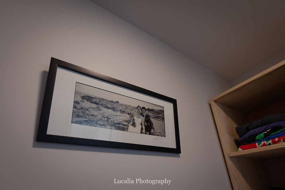 black and white framed wedding photo on the wall, Wairarapa