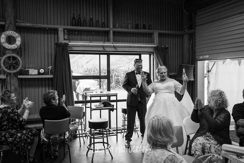 bride and groom entrance Wedding reception, Waimeha Bar and Grill, Ngawi Wairarapa wedding photographer