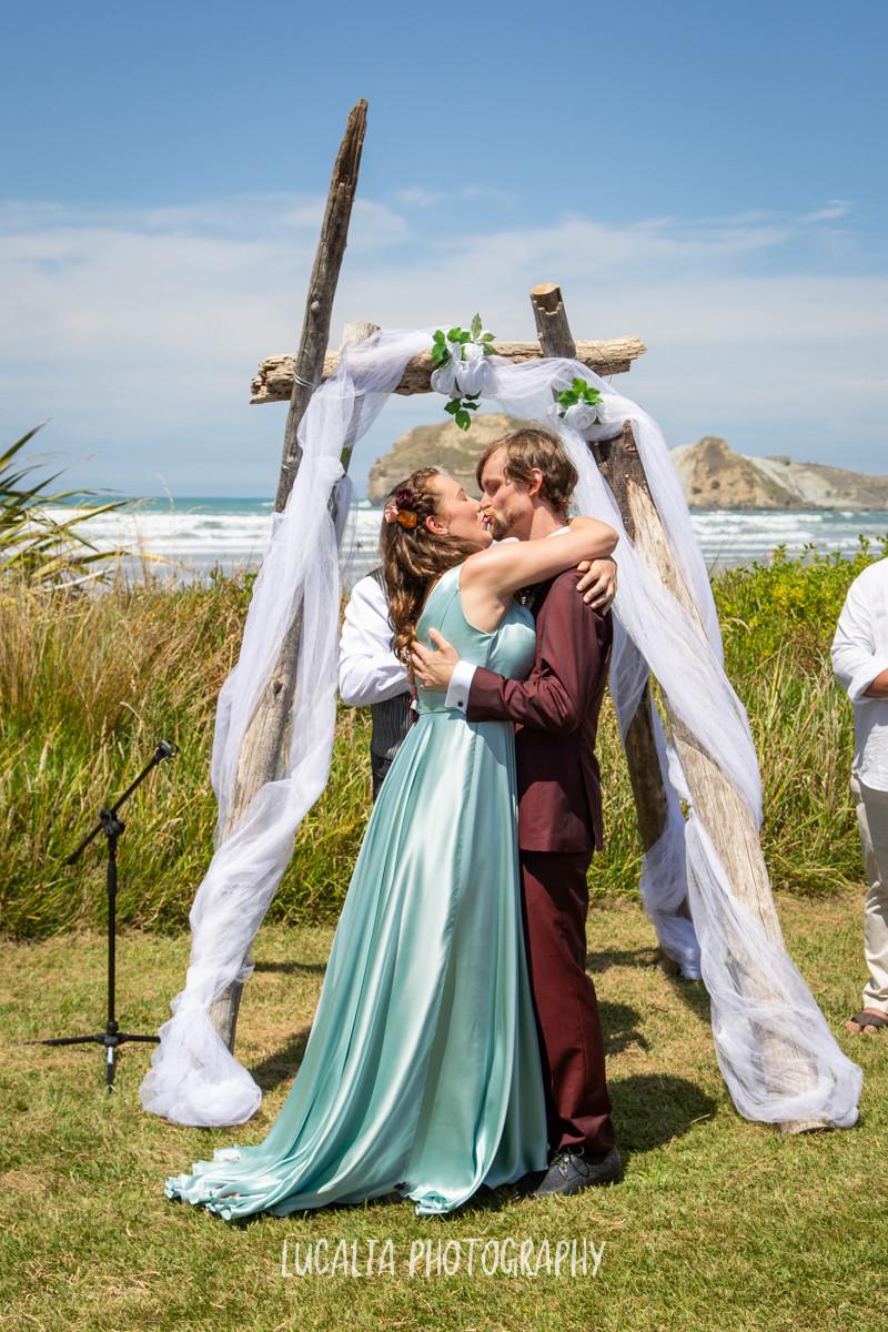 you may kiss the bride, Castlepoint Wairarapa wedding, Lucalia Photography