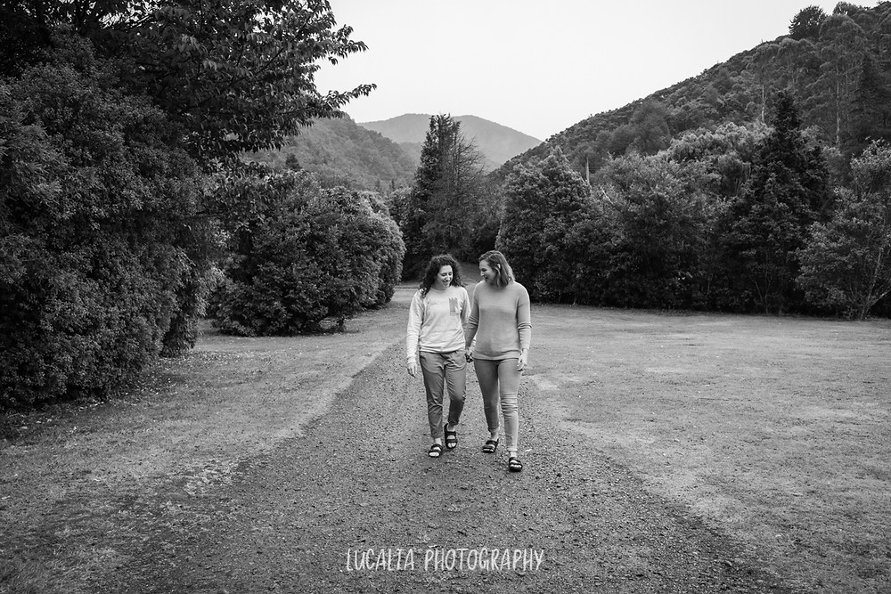 Couple walking together at Mt Holdsworth engagement photo, Lucalia Photography Wairarapa photographer