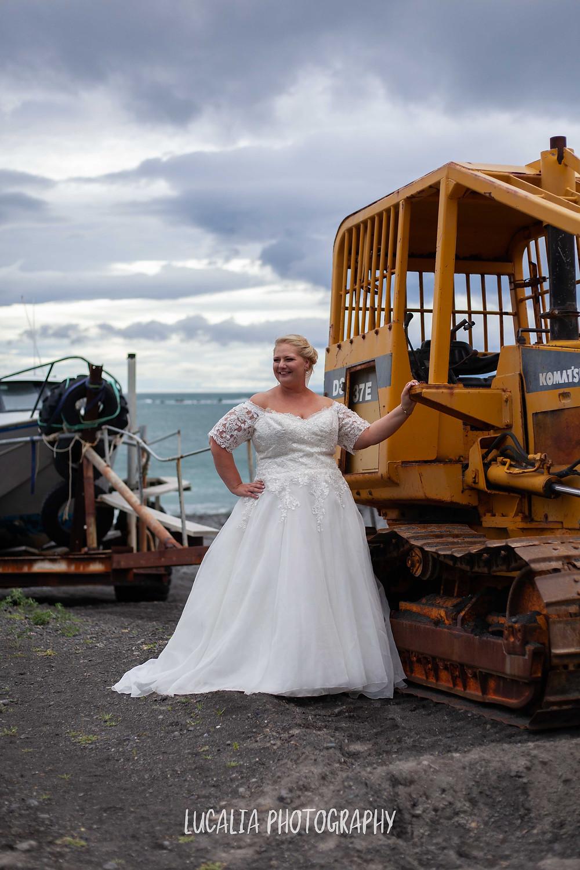 bridal portrait with Ngawi tractor, Wairarapa wedding photographer
