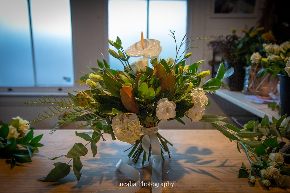 The native-inspired, green and white bridal bouquet all finished, Wairarapa