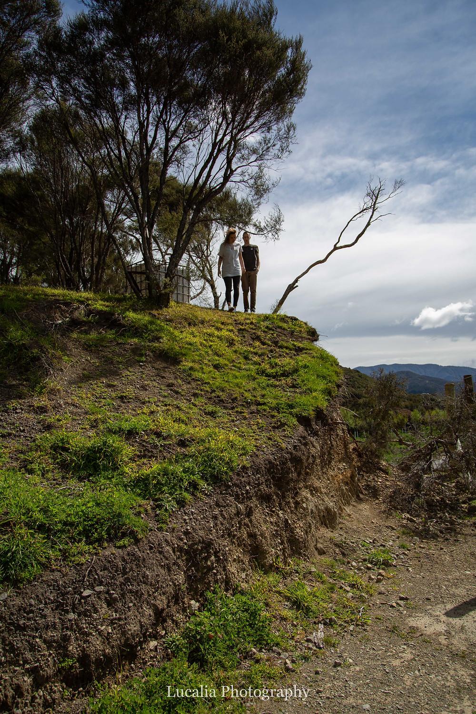 engaged couple walking down a steep grassy hill, Wairarapa wedding photographer