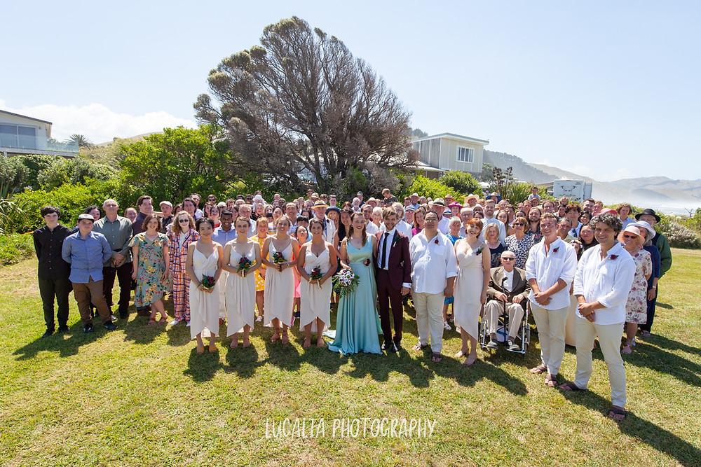 whole group photo, Castlepoint Wairarapa wedding, Lucalia Photography