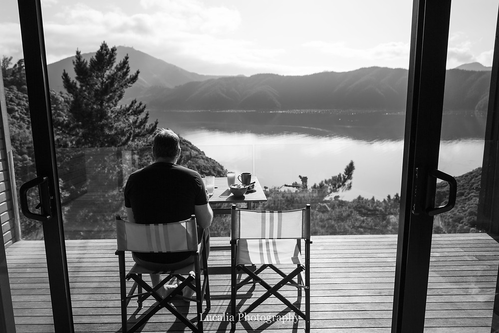 Breakfast on the deck overlooking the bay, Wairarapa photographer
