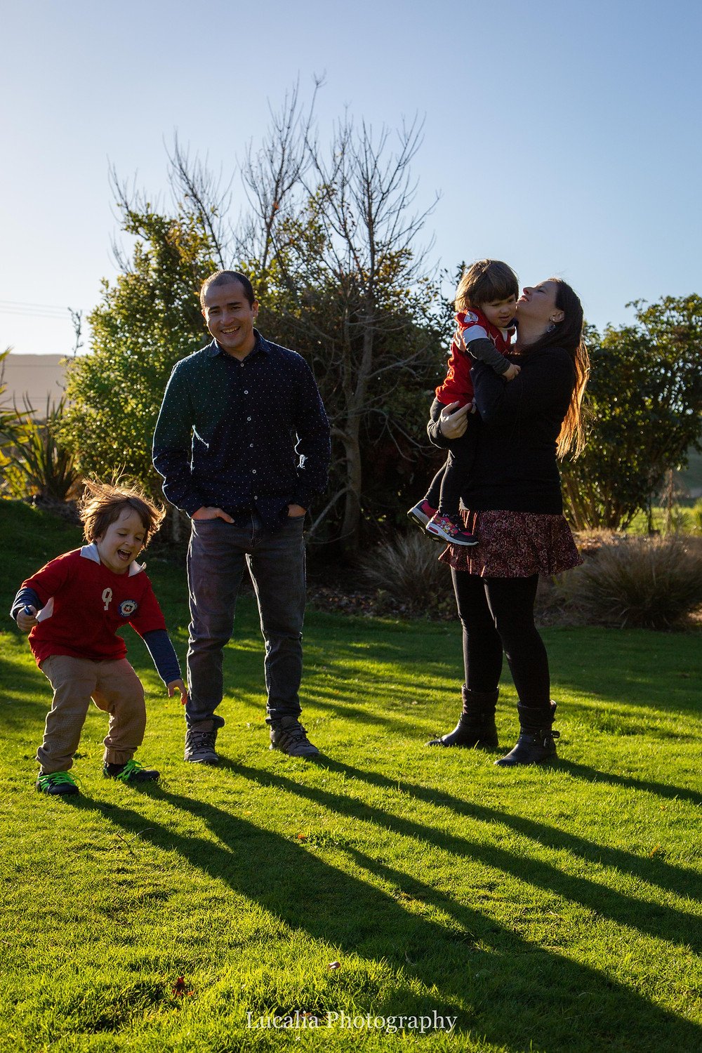 family portrait in afternoon light, Wairarapa family photographer