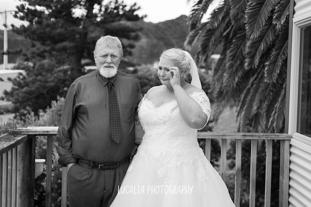 emotional bride with dad, Ngawi Wairarapa wedding photographer