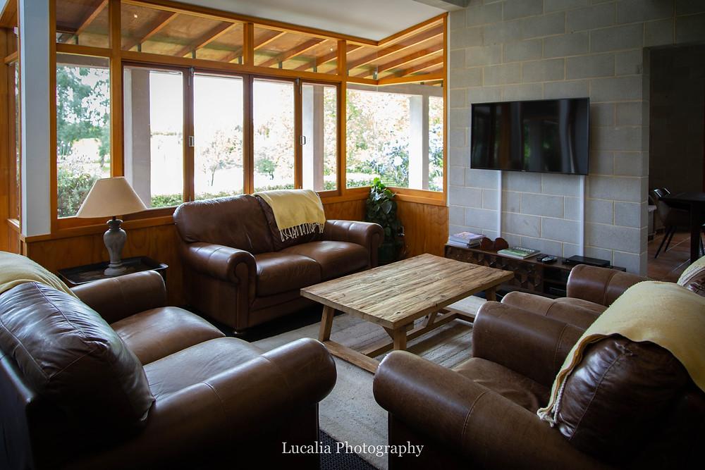 Cosy lounge inside Summer Lodge wedding venue Martinborough, Wairarapa
