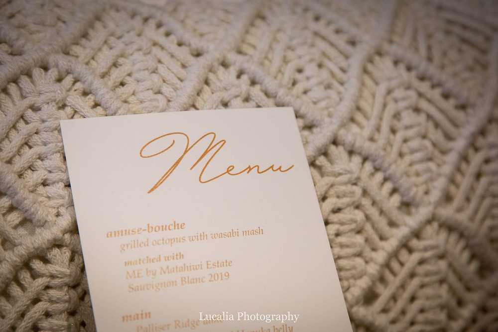 menu on crochered cushion at Rose & Smith at Tauherenikau Wairarapa wedding venue