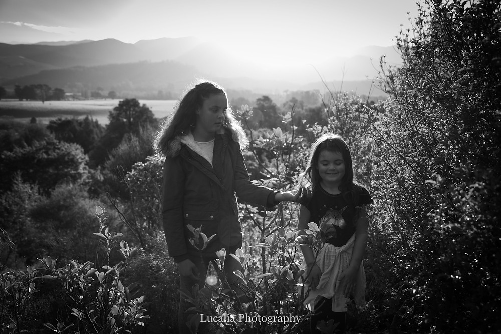 two sisters in the forest with mountains and sun setting, Wairarapa family photographer