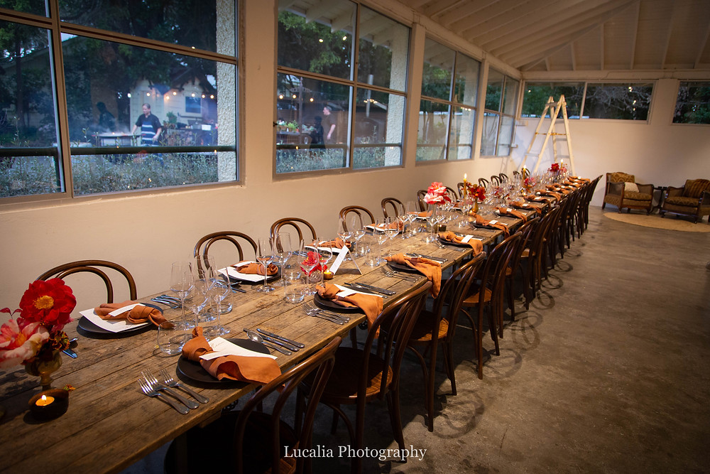 long tables set at Rose & Smith at Tauherenikau Wairarapa wedding venue