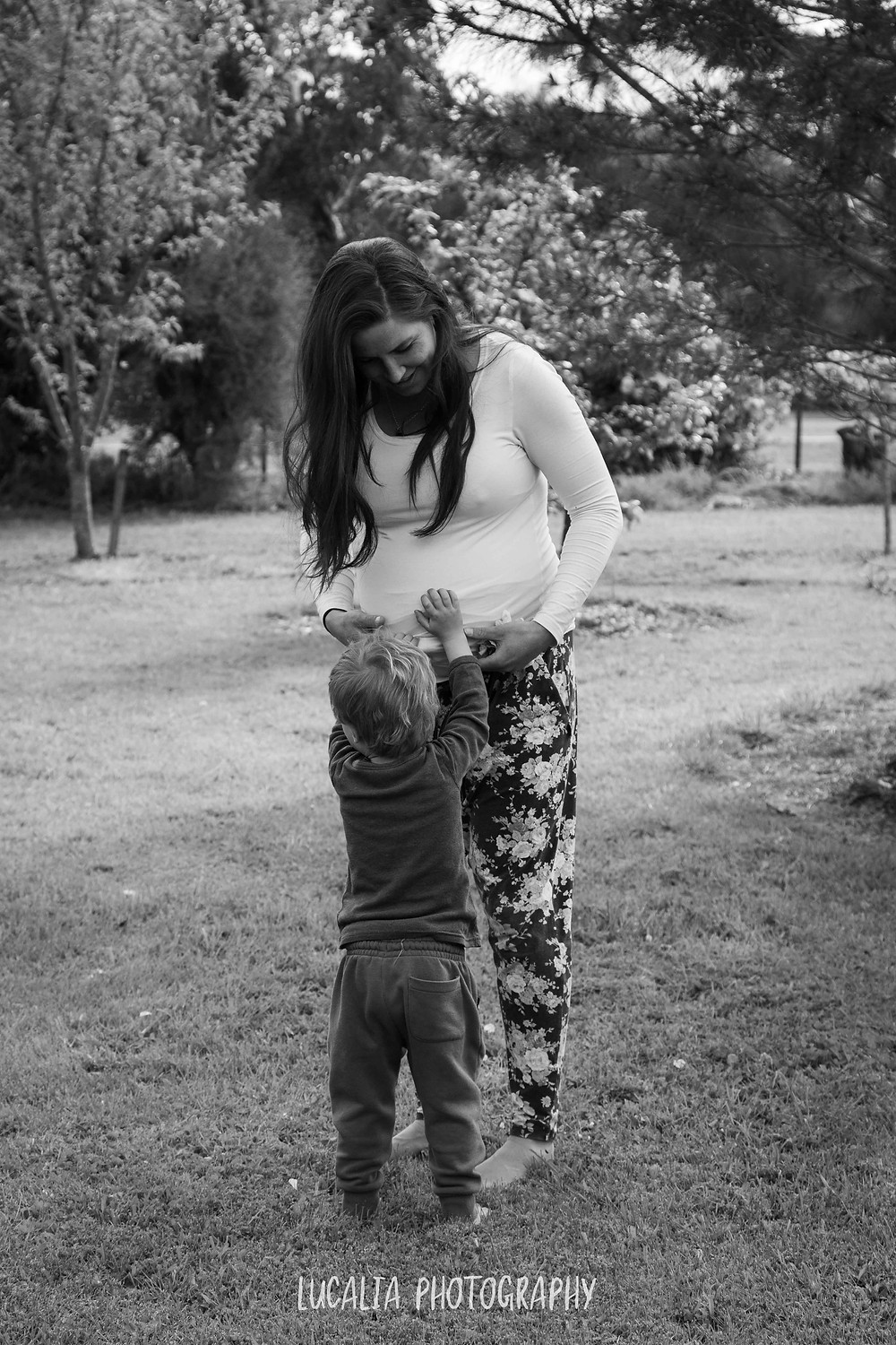 son touches his mum's pregnant belly, Wairarapa maternity photographer
