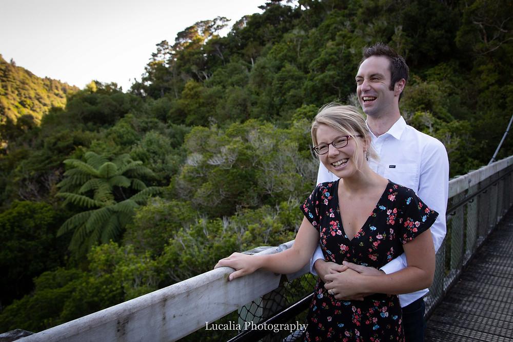 laughing engaged couple, Zealandia, Wellington