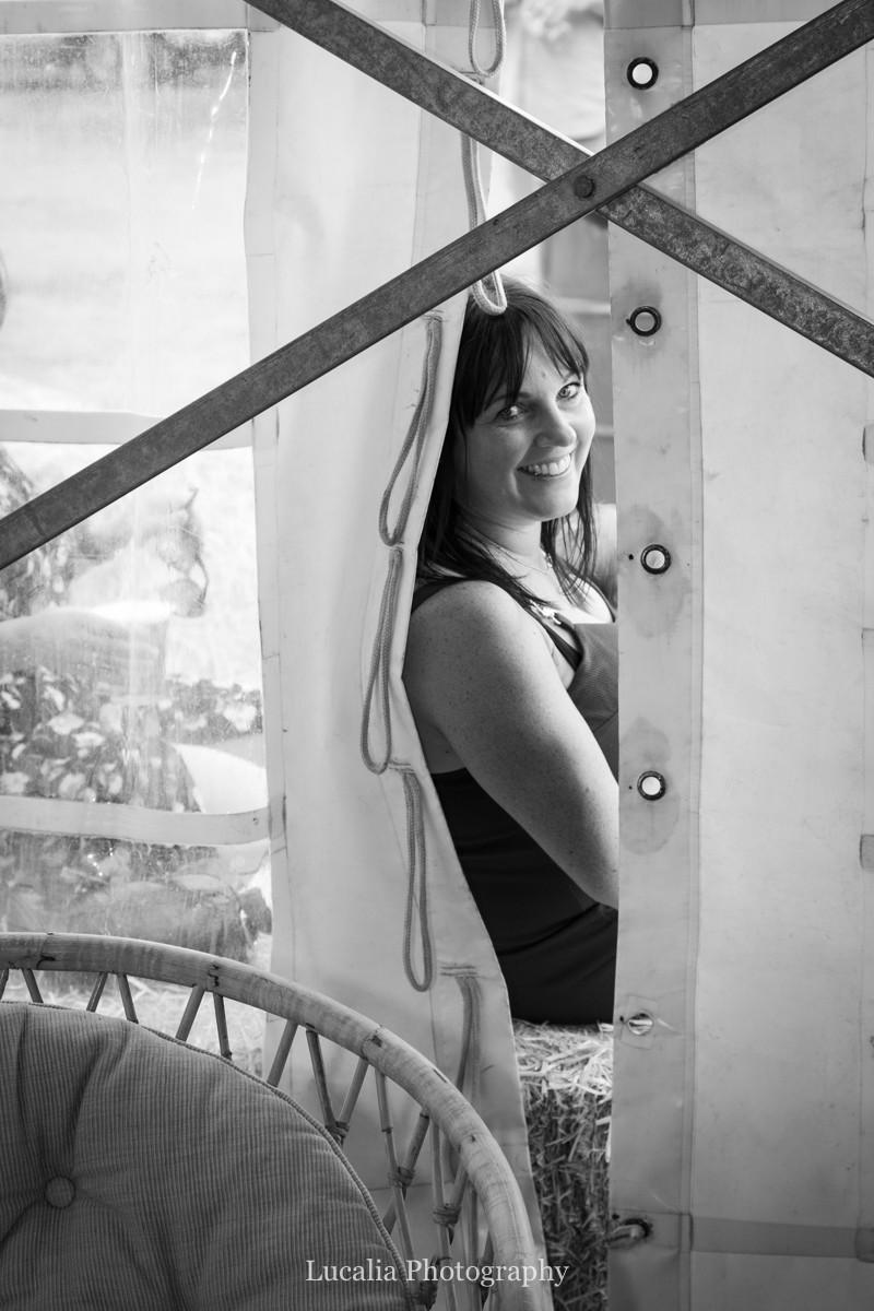 guest peeking through side of marquee at a Wairarapa wedding