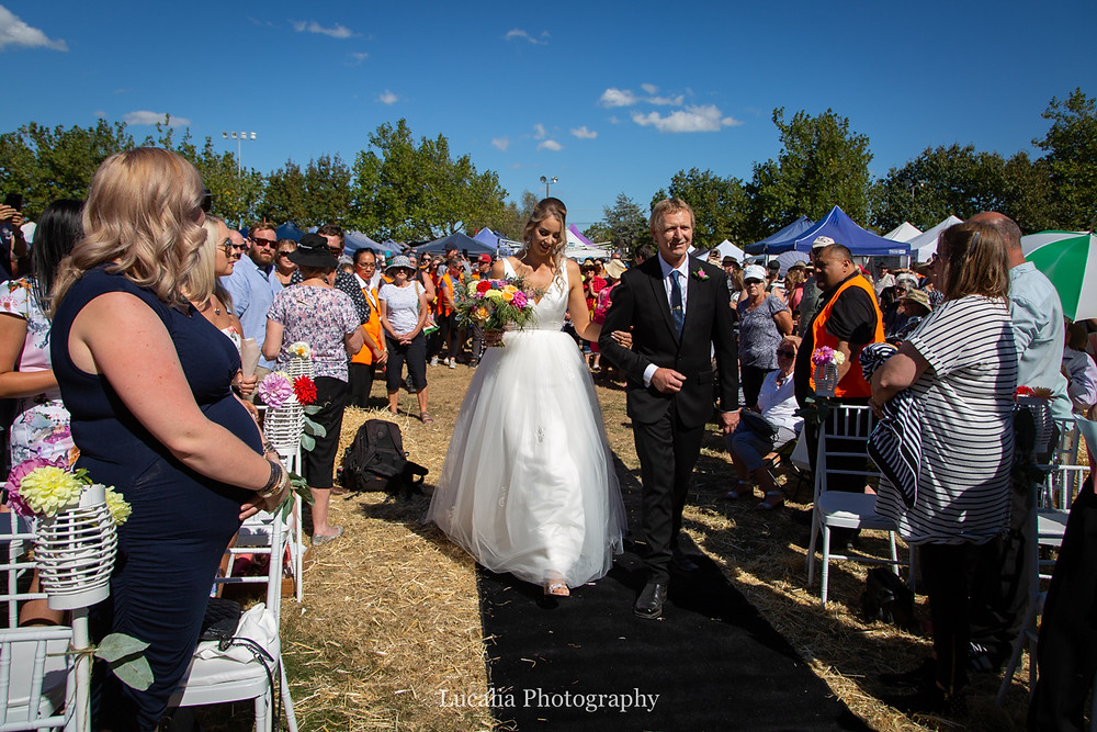 bride and her father walk down the aisle, Wairarapa
