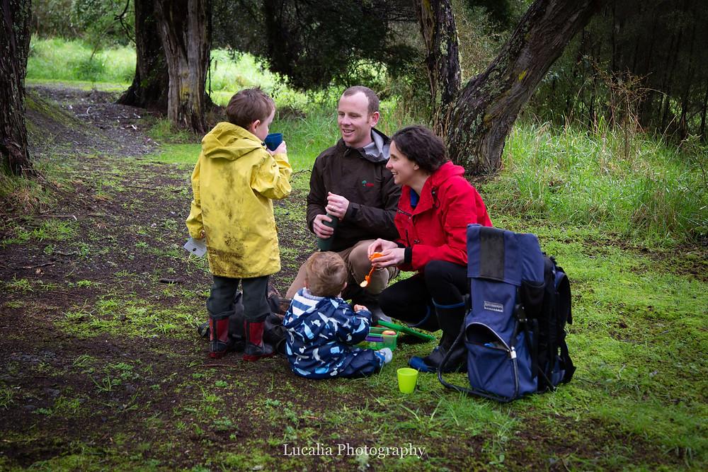 family picnic in Carter Scenic Reserve, Wairarapa family photographer