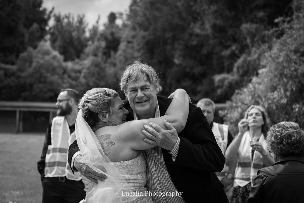 hugs after the wedding ceremony, Wairarapa wedding photographer