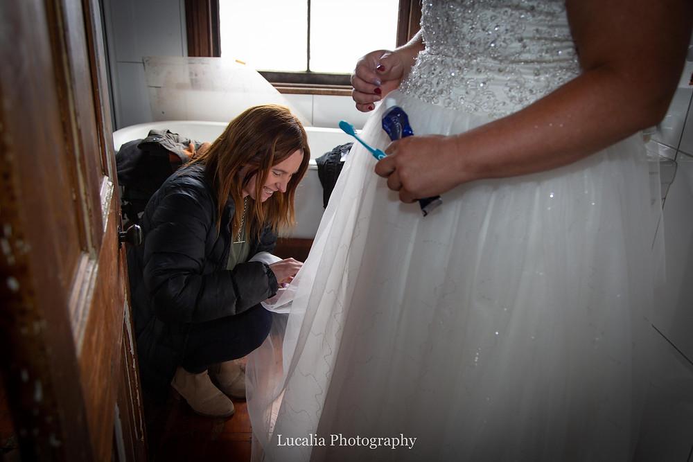 cleaning mud off wedding dress, Wairarapa wedding photographer