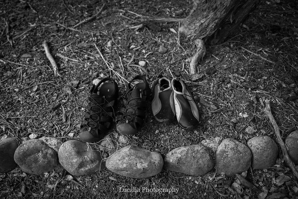 two pairs of rock shoes in a garden bed, Featherston Wairarapa