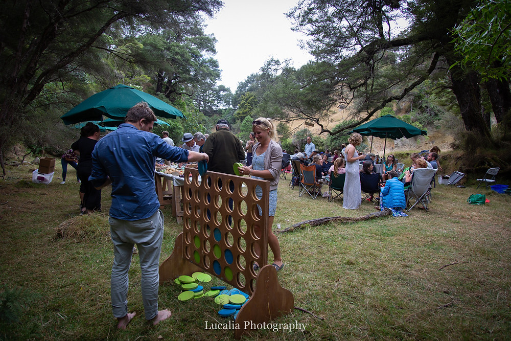 wedding guests playig lawn games, Wairarapa wedding photographers
