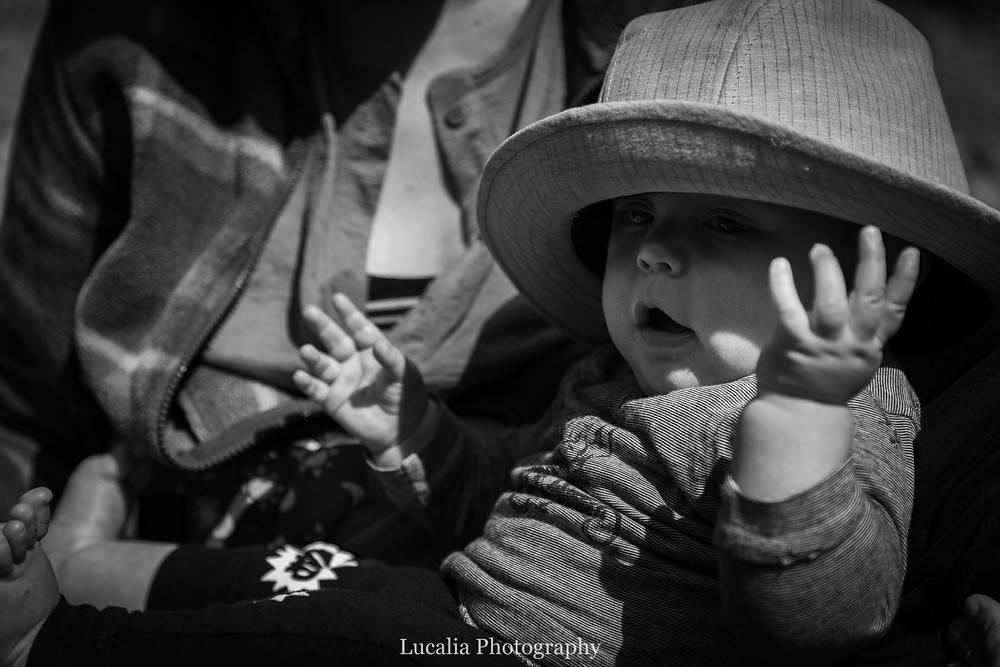 baby wearing a sunhat, Tararua Forest Park, Wairarapa family photographer