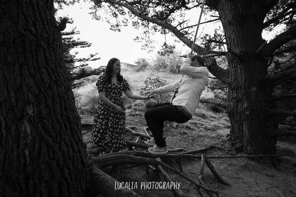 tree swing at Castlepoint, engagement portrait, Lucalia Photography Wairarapa wedding photographer