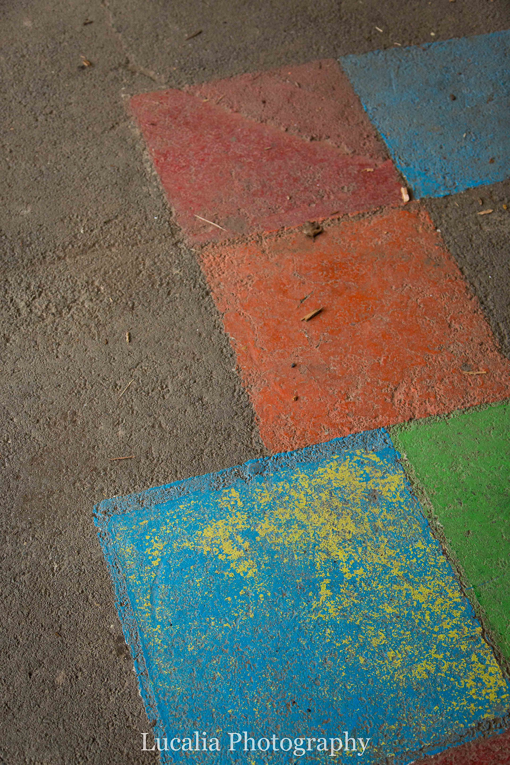 Maydena Primary School coloured squares on concrete former playground