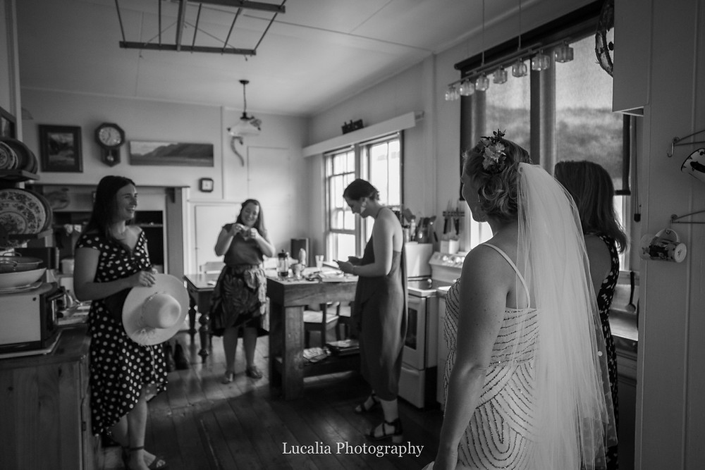 bride appears to friends for the first time, Wairarapa wedding photographers