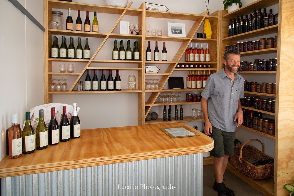 Wine and preserves inside the cellar door at Le Gra vineyard, Wairarapa family photographer