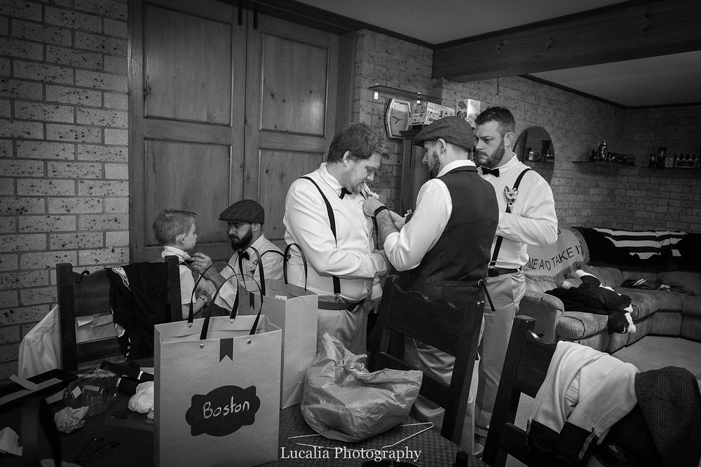 groom and groomsmen getting ready, Wairarapa wedding photographer