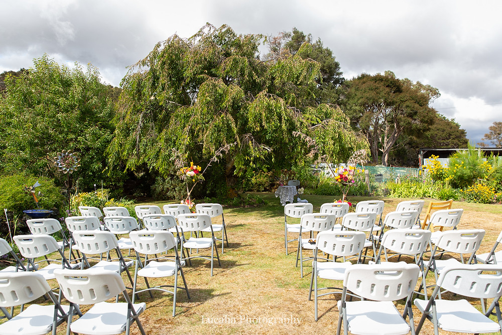 garden wedding ceremony set up, Festival Hire, Wairarapa wedding photographers