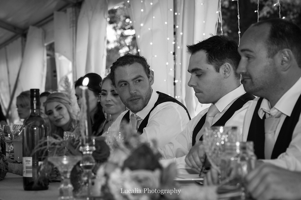 focus on groom during wedding reception, Wairarapa