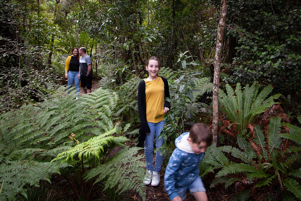family walking in forest, Waiohine Gorge, Wairarapa family photographer