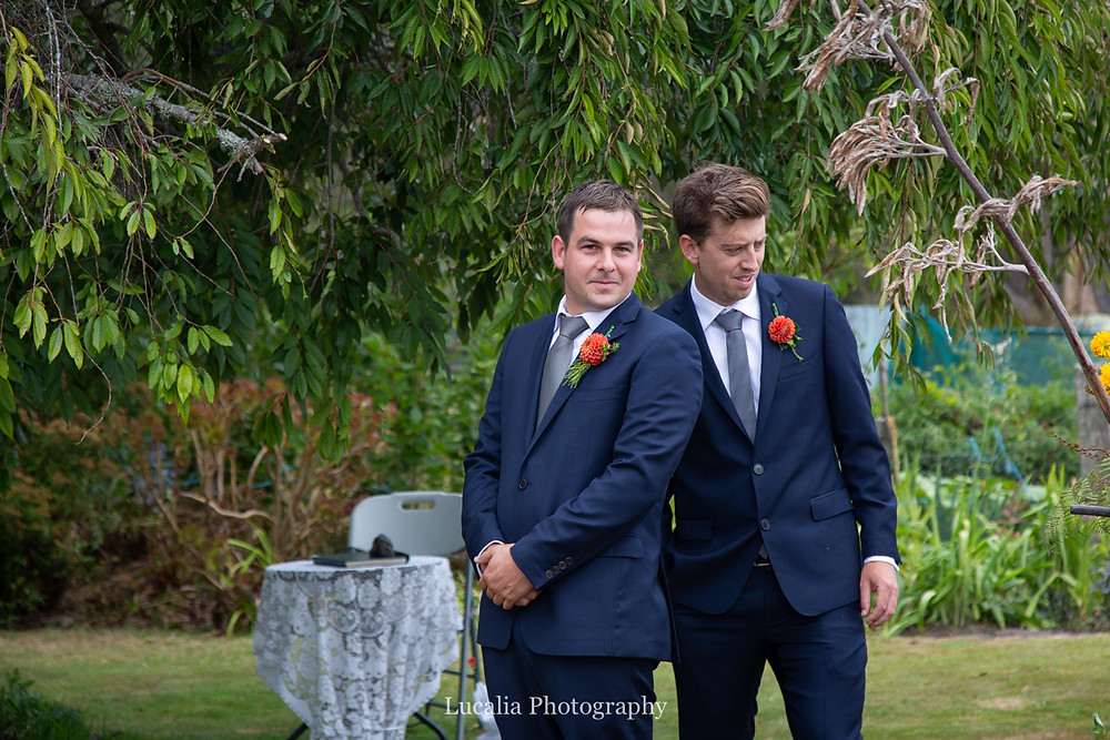 groom sees his bride walking down the aile, Wairarapa wedding photographers