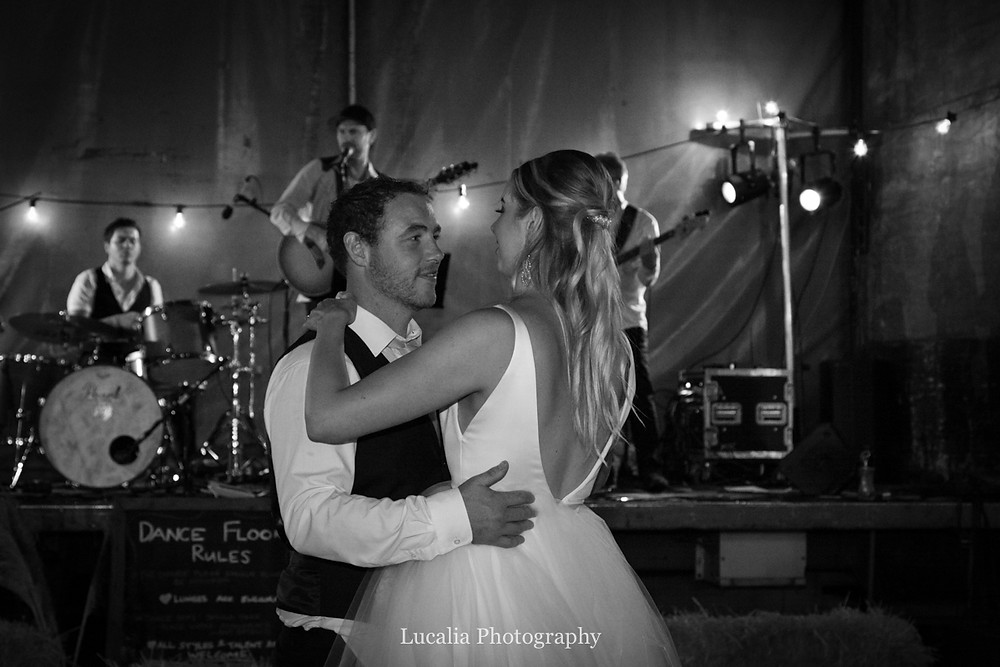 first dance bride and groom closeup outside at night, Wairarapa