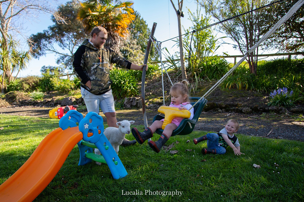 Dad plays with children on swing with lamb, Wairarapa family photographer