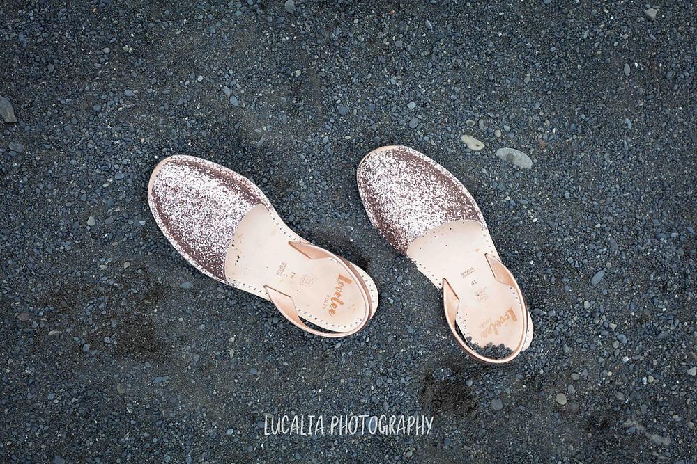 Lulu Avarcas bridal shoes in black sand beach Ngawi, Wairarapa wedding photographer