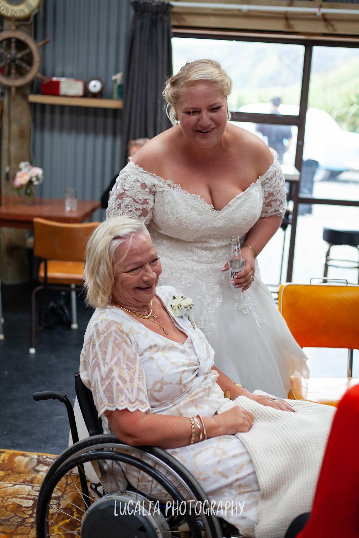 bride and her mum and wedding reception, Waimeha Bar and Grill, Ngawi Wairarapa wedding photographer