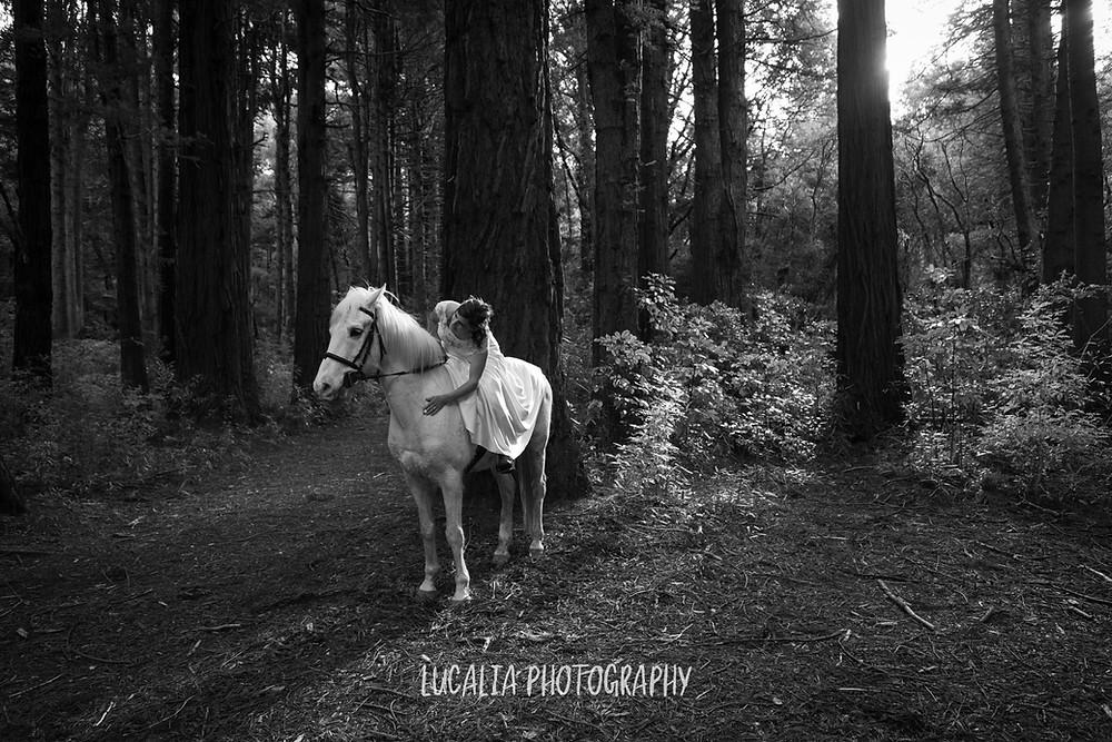 bride embracing her white horse in a forest, Kiriwhakapapa Wairarapa wedding photographer