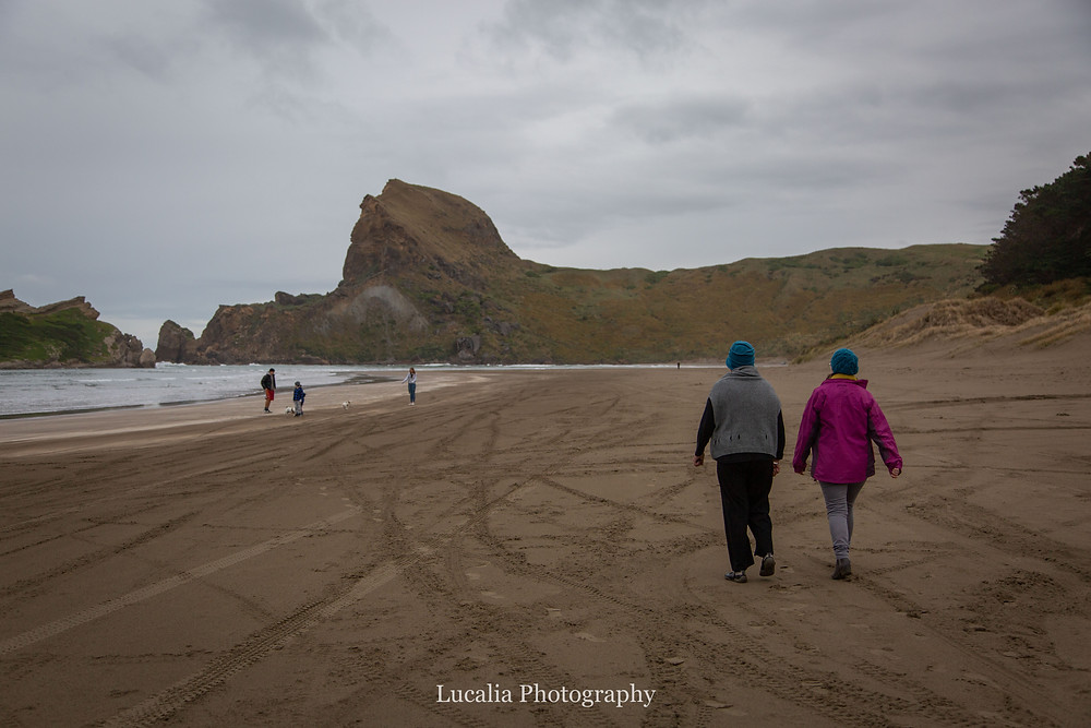family walking along the beach, Castlepoint Wairarapa family photographer