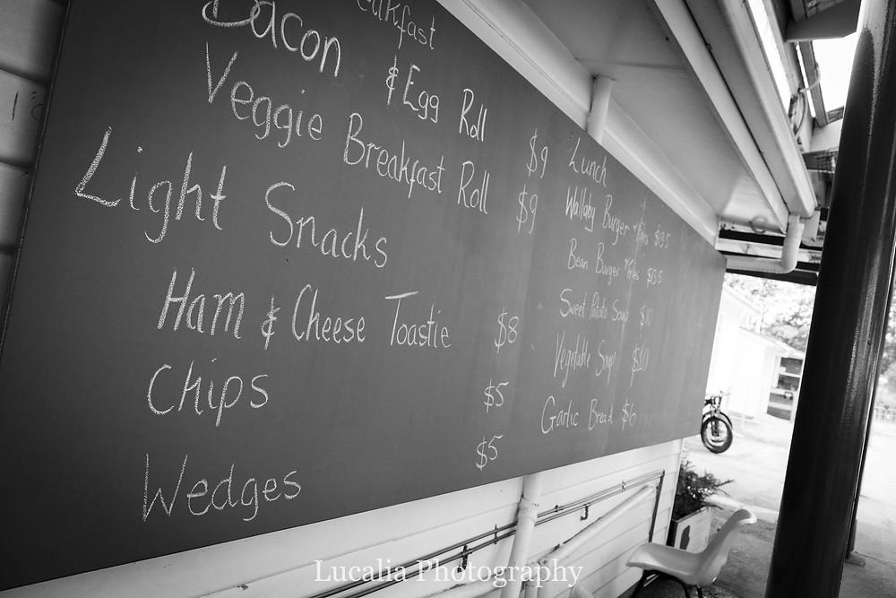 Blackboard menu at Maydena Bike Park