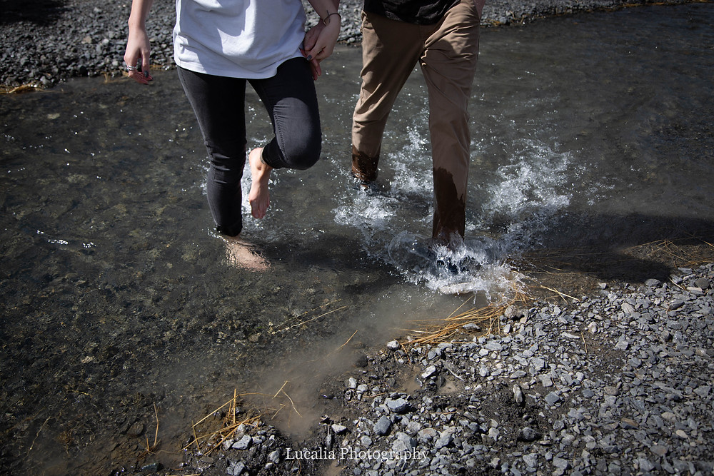 walking through a river with wet jeans, Wairarapa wedding photographer