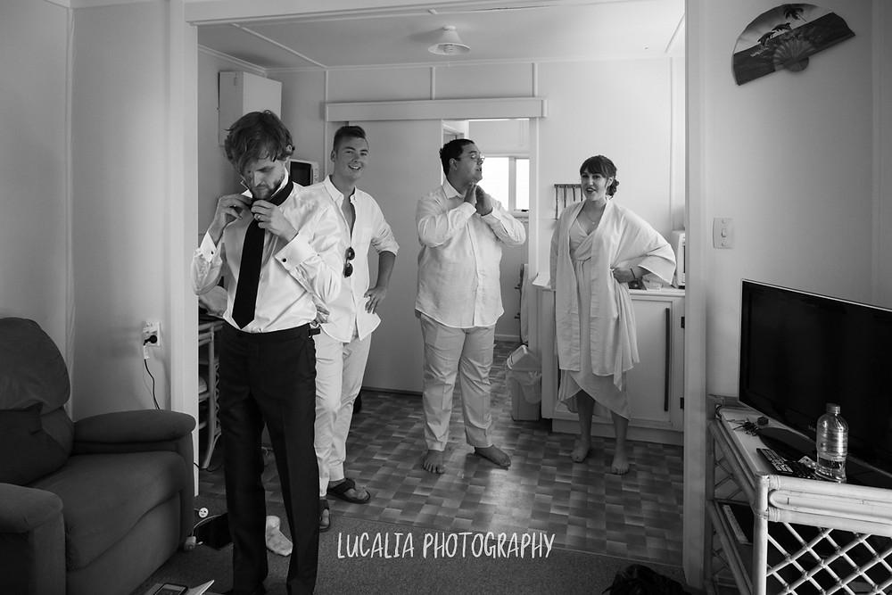 wedding party getting ready, Castlepoint Wairarapa wedding, Lucalia Photography