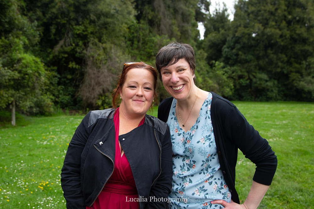 Jen from Wild Rose and Co; and Sarah from Lucalia Photography at a wedding, Wairarapa wedding photographer