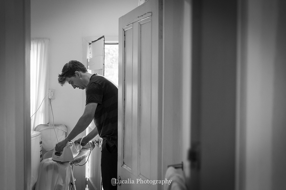 best man ironing shirt, Wairarapa wedding photographers